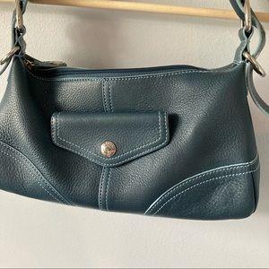 Fossil Pebbled Leather Teal Shoulder Bag